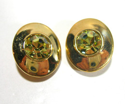 VINTAGE SWAROVSKI SIGNED GOLD TONE & GREEN GLASS RHINESTONE CLIP ON EARR... - $45.00