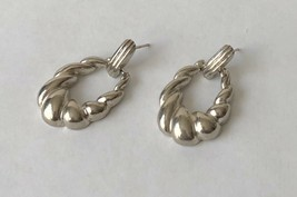 "Vintage Textured Silver Tone Door Knocker Hoop Pierced Earrings 3/4"" x 1... - $14.44"