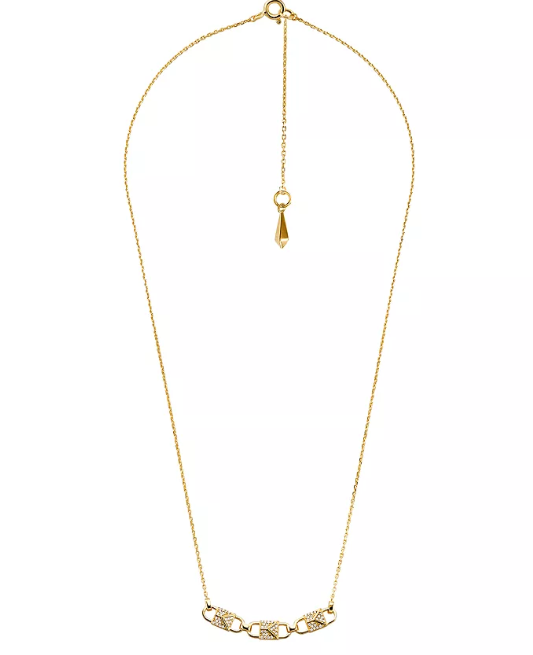 Primary image for new MICHAEL KORS necklace Mercer Padlock Gold-Plated Sterling Silver chain locks