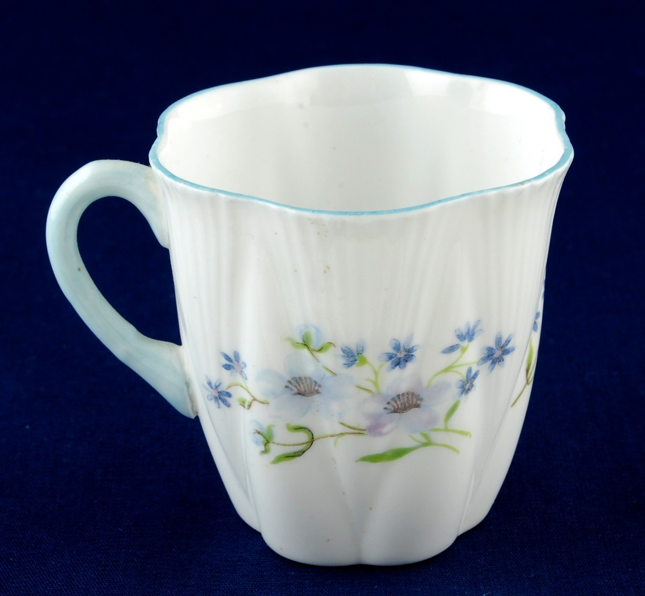 Primary image for Shelley Blue Rock Demitasse Orphan Cup Dainty Shape Blue Rim 13691 Excellent