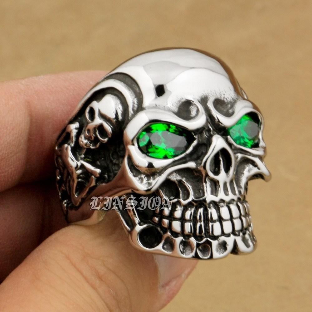 3513ca6b7e9c 3 linsion huge heavy 316l stainless steel green cz eyes titan skull mens  boys biker rock