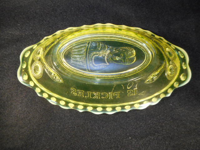 Antique Yellow Opalescent Vaseline Glass Embossed Oval Pickle Dish