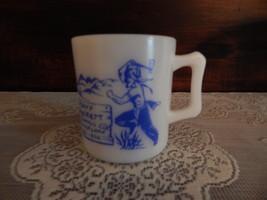 Vintage Hazel Atlas Blue Print Davy Crockett Mug - $18.00