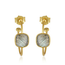 Fashion Women's 18k Gold Plated Silver Handmade Labradorite Hoop Earrings - $15.41