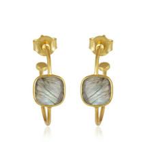 Fashion Women's 18k Gold Plated Silver Handmade Labradorite Hoop Earrings - $15.41