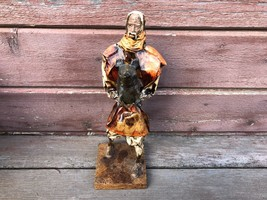 Vintage Mexican Paper Mache Man Holding a Pig Mexico Folk Art  - $19.75