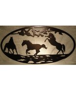 3 Horse Oval Scene Metal Wall Art Home Decor - $41.50+