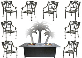 Propane Fire Pit Table Set Patio Furniture 8 Palm Tree Dining Chairs Sunbrella image 1