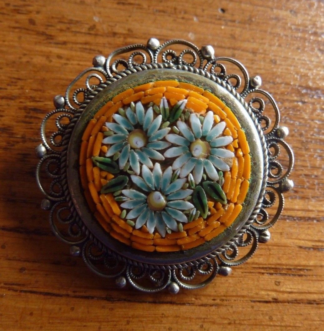 Primary image for Vintage Filigree MOSAIC PIN Flowers Orange ITALY
