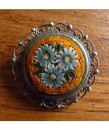 Vintage Filigree MOSAIC PIN Flowers Orange ITALY - $34.25