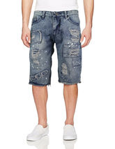 LR Scoop Men's Moto Quilted Distressed Painted Skinny Slim Fit Jean Denim Shorts image 12