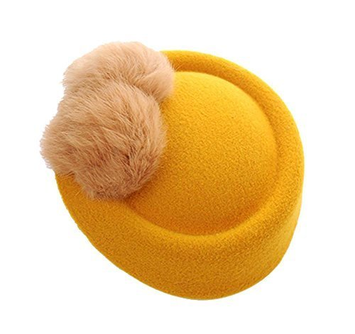 Wool Fedora Hat Small Hat Hairpin Side Clip Hair Accessories, Yellow