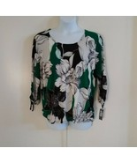JM Collection Women Ruched Tie 3/4 Sleeve Jan Blossom Scoop Neck Floral ... - $41.87