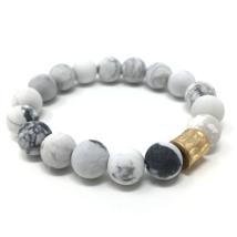 White Howlite Gemstone Beaded Stretch Bracelet Fashion Jewelry Bohoemian - $14.35