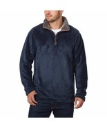 Trinity Mens Sweater Navy Blue Charcoal Pullover Plush 1/4 Zip Soft Mock... - $34.99