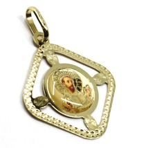 18K YELLOW RHOMBUS GOLD MEDAL SAINT FRANCIS ASSISI FRANCESCO 22mm FRAME ENAMEL image 2