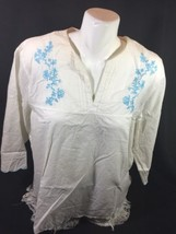 Eddie Bauer Women White Blouse Y-neck Line Short Sleeve Bin55#68 - $14.03