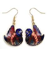 GOLD PLATED CLOISONNE SWAN EARRINGS Blue Love Birds Enamel Hand Painted ... - $6.95