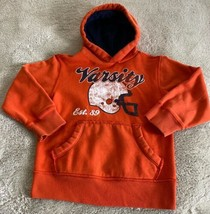 Childrens Place Boys Orange Vintage Football Helmet Blue Hoodie Sweatshirt 5-6 - $9.28
