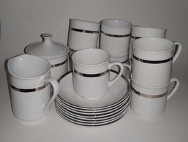 Coffee Serving Set Cups and Saucers Sugar Dish Pitcher Staffordshire 18 ... - $17.99
