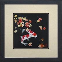 King Silk Art Handmade Embroidery Pair of Red & White Japanese Koi with ... - $76.19