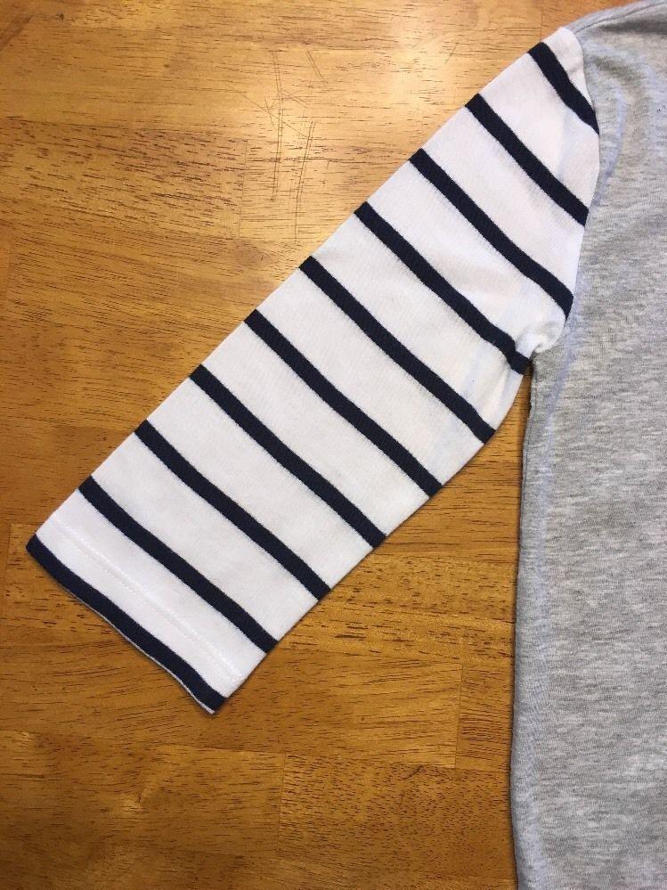 Gap Kids Girl's Gray, Blue & White Striped Pocket Shirt - Size: Medium