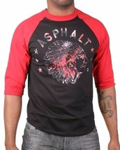 Asphalt Yacht Club Mens Black Red Indian Chief Trip Raglan Shirt Native American image 1