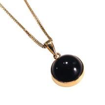 Adita 14k Solid Yellow Gold 12mm ELEGANT Black Onyx Pendant And Necklace - $70.31+