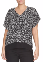 Chaus Top Black/White With High Low Feature  L REDUCED NWT ORIG  $69 - $0.98