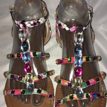 Strappy 8 Sandals Snake Multi Jeweled Color Buckles Bright sz Faux Brash xgqIPR