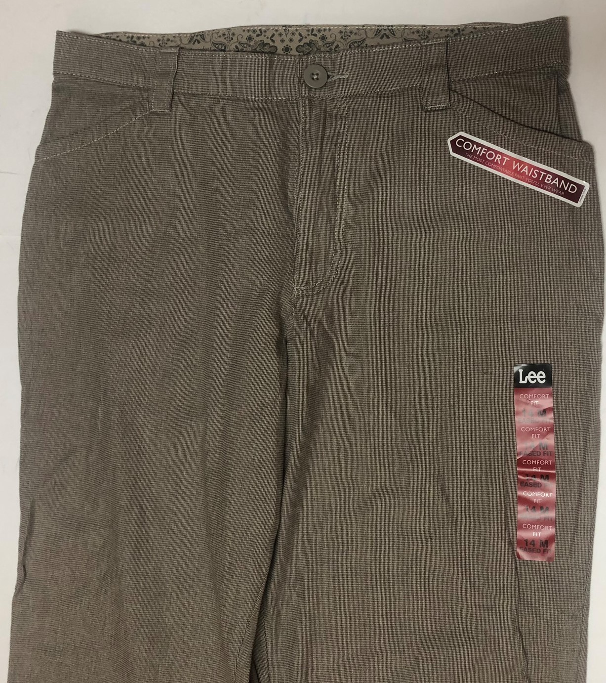 Lee Comfort Fit Casual Pants Women's Sz 14M Gray Small Plaid image 3