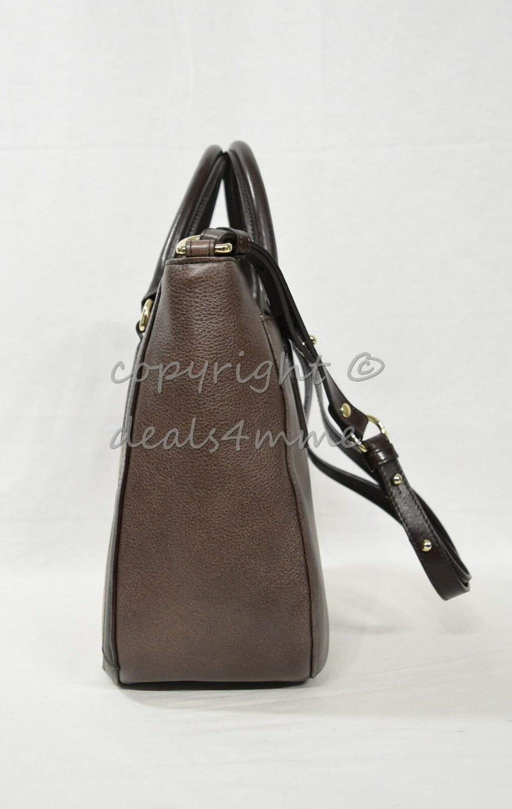 NWT Brahmin Small Lena Leather Satchel/Shoulder Bag in Brown Barrow image 8