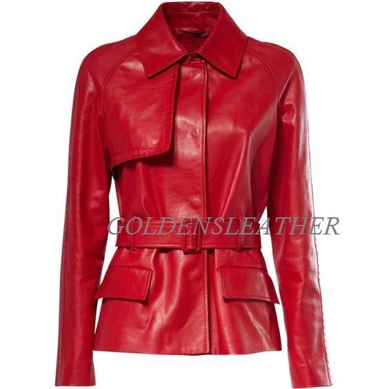 WOMEN BIKER MOTORCYCLE CASUAL SLIM FIT RIDER REAL GENUINE  LEATHER JACKET-A43