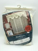 Vintage Curtain Floral Lace 80W x 37L 1 pair B46 - $18.69