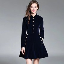 Autumn and winter new collar long sleeve Slim A-line   dress coat - $99.00