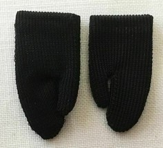 Vintage Barbie Short Black Tricot Nylon Gloves   245-21 - $45.00