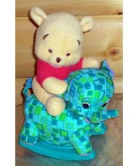 "Winnie Pooh Ride Along Plush 12"" Baby Bear on Musical Rocking Green Elep... - $11.59"