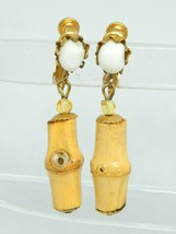 Miriam Haskell White Glass Wood Bamboo Bead Gold Tone Clip Earrings Vintage - $128.69