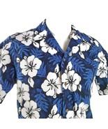 RJC Ibisco Floreale Foglie Fronde Blu Bianco Grande Hawaiano Aloha Camicia - $31.20