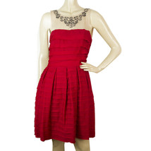 BCBG MaxAzria Red Ruffled Beaded Neckline Mini Length Dress size S - $183.15