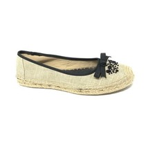 Simply Vera Vera Wang Size 10 Tan Beige Espadrille Flats Slip on Beaded ... - £16.41 GBP