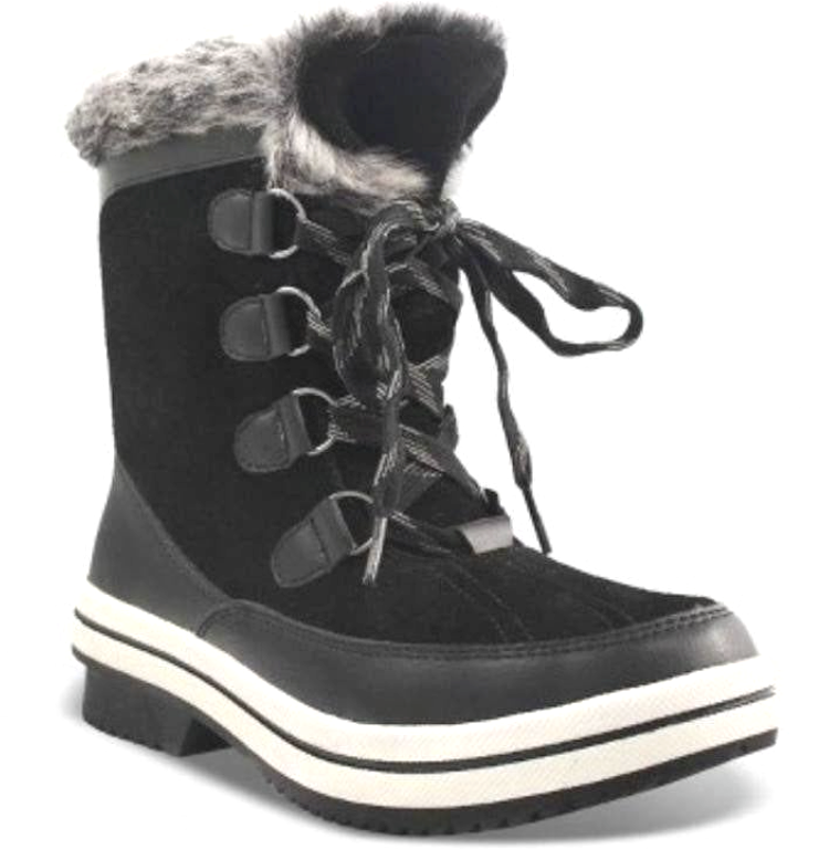 Universal Thread Womens Ellysia Black Suede Leather Winter Snow Winter Boots NWT