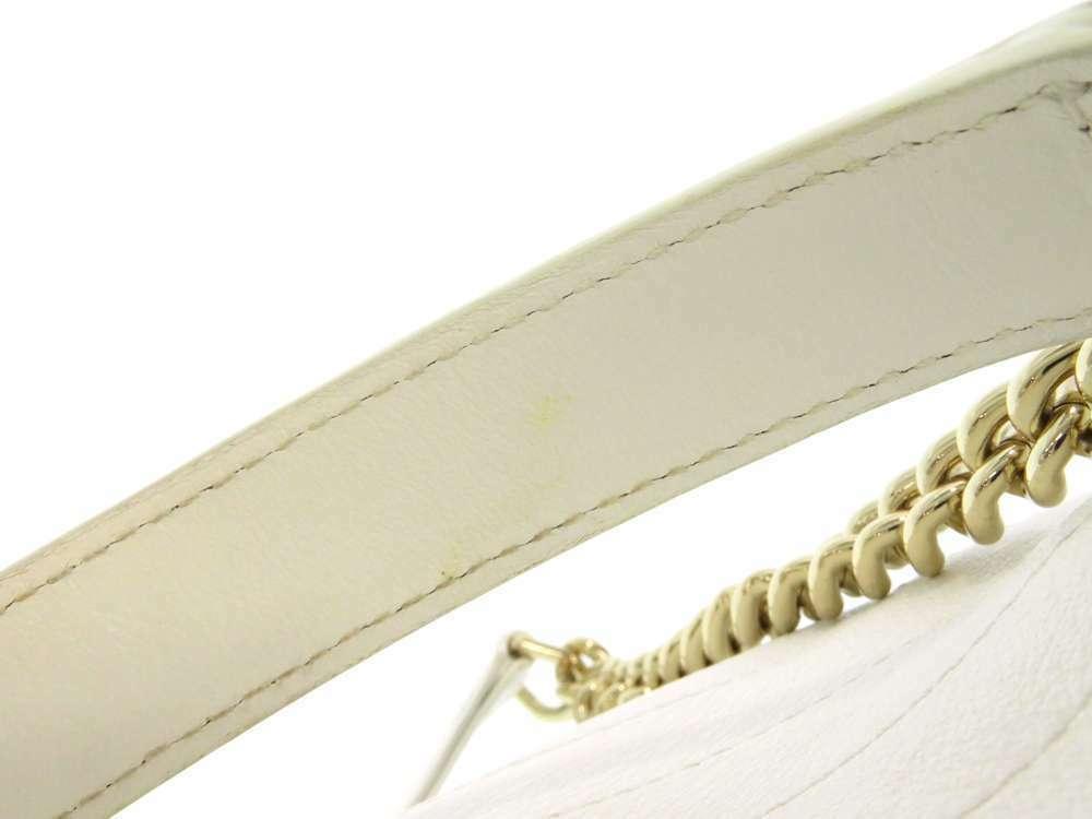 CHANEL Handbag Leather White Chevron V Stitch 2Way Shoulder Bag Italy Authentic image 8