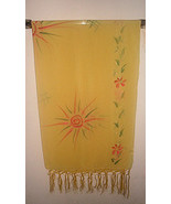 Mexican Sunburst Print Scarf Wrap Sarong Yellow... - $24.99