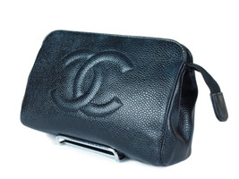 CHANEL Caviar Skin Leather Black Pouch Bag CP1086 - $198.00