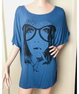 Allegra K Women Sz Med Oversized Tunic Top Graphic Face Blue Coverup Bal... - $17.33