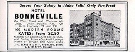 Hotel Bonneville Idaho Falls Idaho 100 Modern Rooms 1956 Travel Tourism AD - $10.99