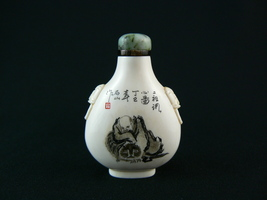 Scarce Antique Chinese Bone Snuff Bottle with Scrimshaw 1900-1940 - $1,100.00