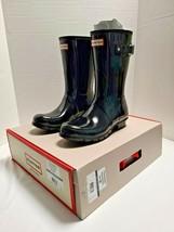 Hunter Original Short Black Gloss Rain Boot Item # 998587 Size 9 NIB - $89.09