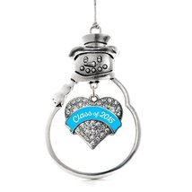 Inspired Silver Blue Class of 2015 Pave Heart Snowman Holiday Christmas Tree Orn - $14.69
